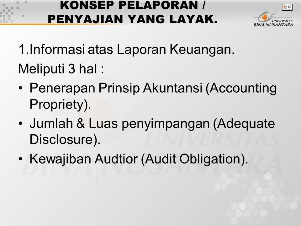 KONSEP PELAPORAN / PENYAJIAN YANG LAYAK. 1.Informasi atas Laporan Keuangan. Meliputi 3 hal : Penerapan Prinsip Akuntansi (Accounting Propriety). Jumla