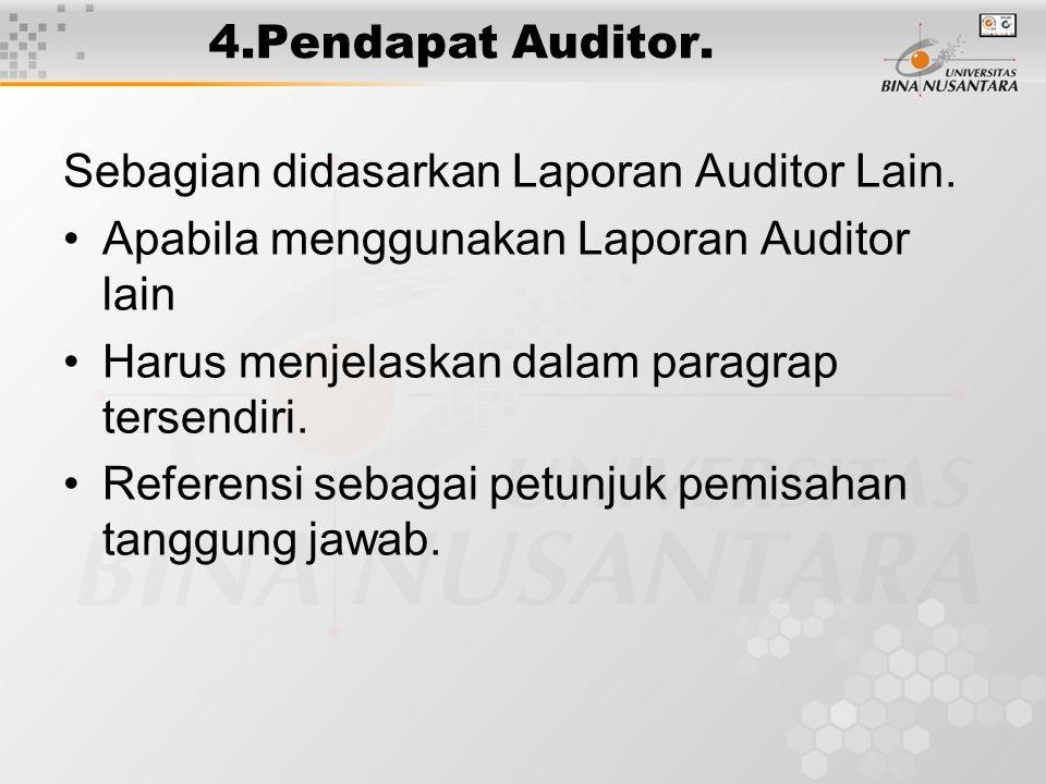 4.Pendapat Auditor. Sebagian didasarkan Laporan Auditor Lain. Apabila menggunakan Laporan Auditor lain Harus menjelaskan dalam paragrap tersendiri. Re