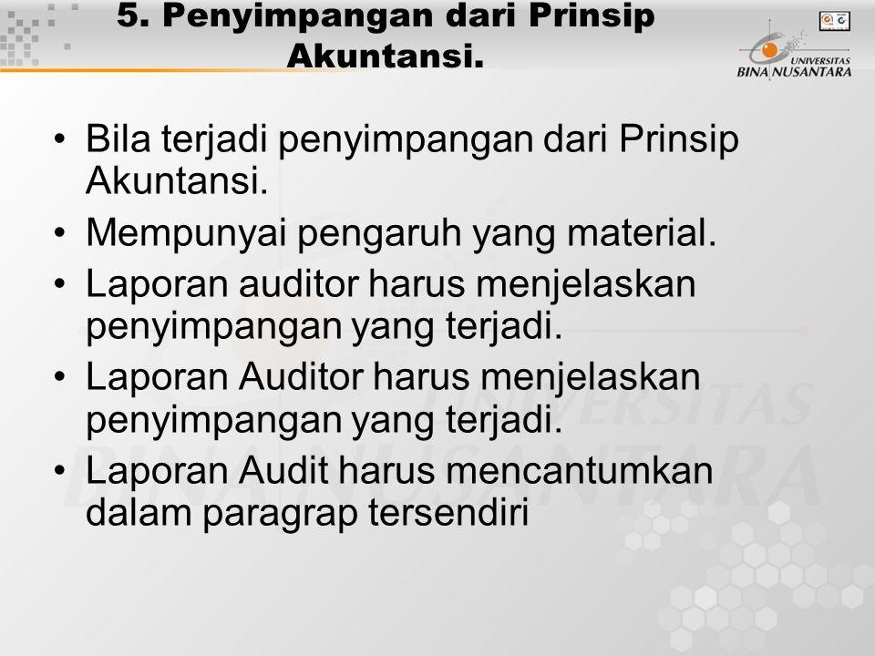 5. Penyimpangan dari Prinsip Akuntansi. Bila terjadi penyimpangan dari Prinsip Akuntansi. Mempunyai pengaruh yang material. Laporan auditor harus menj
