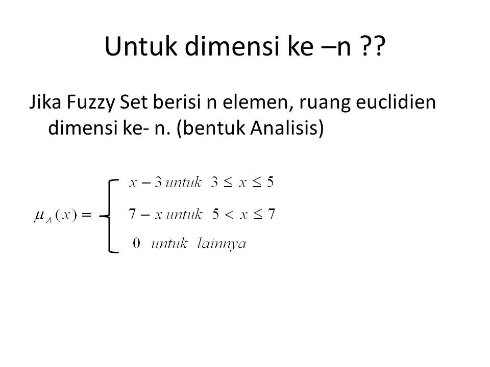 Untuk dimensi ke –n . Jika Fuzzy Set berisi n elemen, ruang euclidien dimensi ke- n.