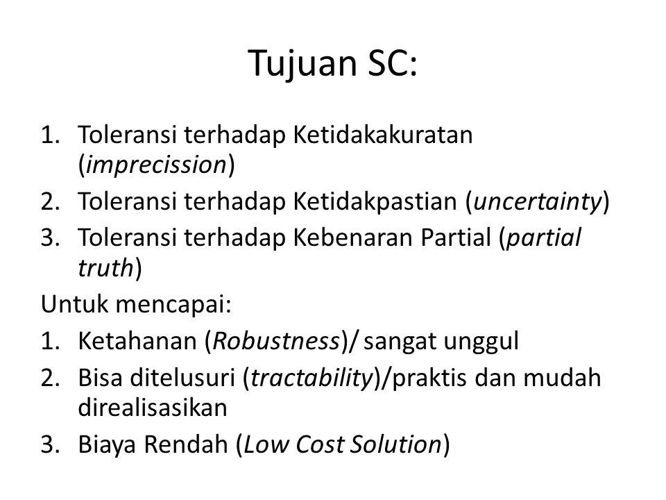 Tujuan SC: 1.Toleransi terhadap Ketidakakuratan (imprecission) 2.Toleransi terhadap Ketidakpastian (uncertainty) 3.Toleransi terhadap Kebenaran Partial (partial truth) Untuk mencapai: 1.Ketahanan (Robustness)/ sangat unggul 2.Bisa ditelusuri (tractability)/praktis dan mudah direalisasikan 3.Biaya Rendah (Low Cost Solution)