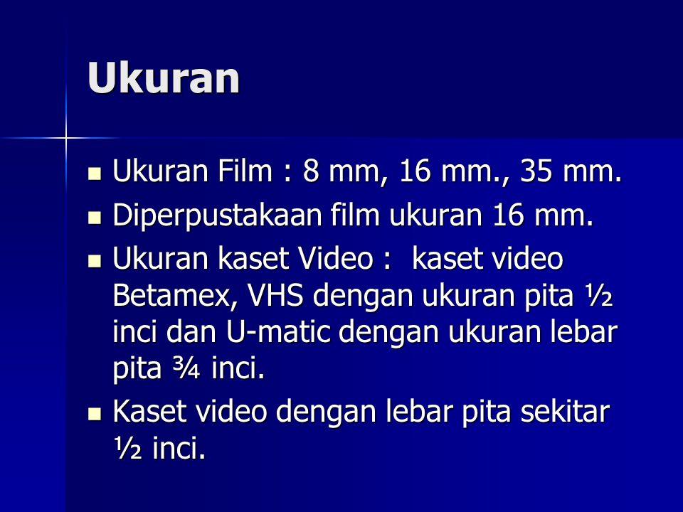 Ukuran Ukuran Film : 8 mm, 16 mm., 35 mm.Ukuran Film : 8 mm, 16 mm., 35 mm.