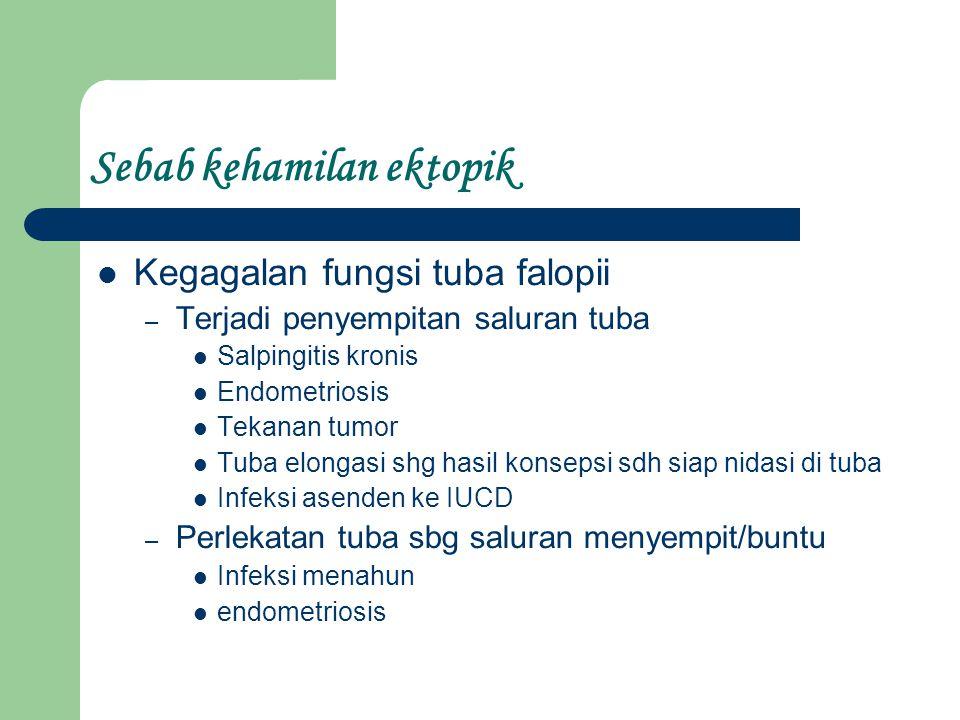 Terdapat endometrium yg memungkinkan utk nidasi→divetikulum tuba dgn endometrium Terlambat nidasi setelah melalui kavum uteri→kehamilan sevikalis Ovum terjebak dalam ovarium →spematozoa masuk stigma ovum, terjadi konsepsi →tumbang dalam ovum