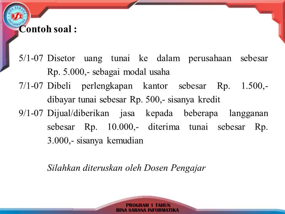 Contoh soal : 5/1-07Disetor uang tunai ke dalam perusahaan sebesar Rp. 5.000,- sebagai modal usaha 7/1-07Dibeli perlengkapan kantor sebesar Rp. 1.500,