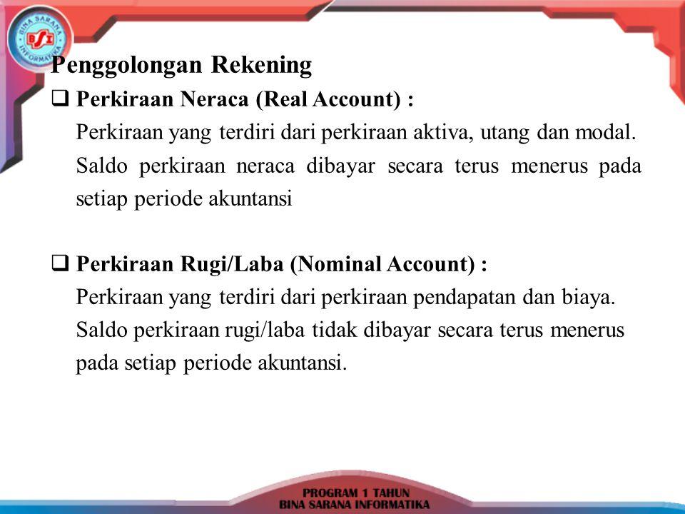 Penggolongan Rekening  Perkiraan Neraca (Real Account) : Perkiraan yang terdiri dari perkiraan aktiva, utang dan modal. Saldo perkiraan neraca dibaya