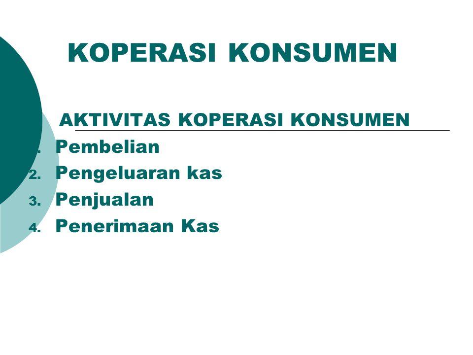 KOPERASI KONSUMEN AKTIVITAS KOPERASI KONSUMEN 1. Pembelian 2. Pengeluaran kas 3. Penjualan 4. Penerimaan Kas