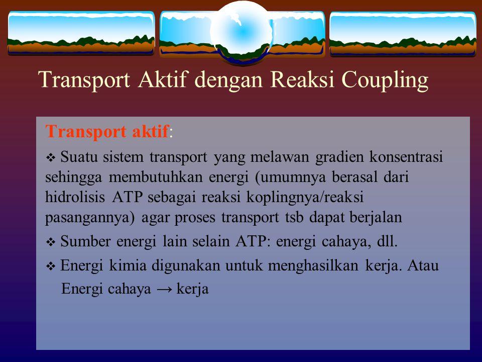 Transport Aktif dengan Reaksi Coupling Transport aktif:  Suatu sistem transport yang melawan gradien konsentrasi sehingga membutuhkan energi (umumnya