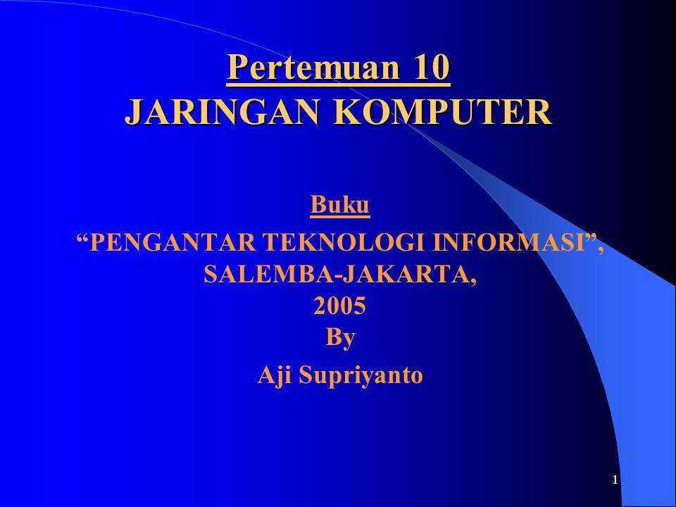 """1 Pertemuan 10 JARINGAN KOMPUTER Buku """"PENGANTAR TEKNOLOGI INFORMASI"""", SALEMBA-JAKARTA, 2005 By Aji Supriyanto"""