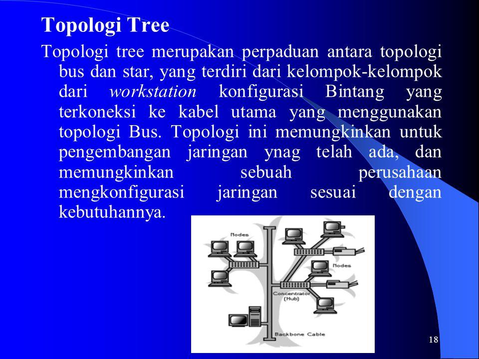 18 Topologi Tree Topologi tree merupakan perpaduan antara topologi bus dan star, yang terdiri dari kelompok-kelompok dari workstation konfigurasi Bintang yang terkoneksi ke kabel utama yang menggunakan topologi Bus.