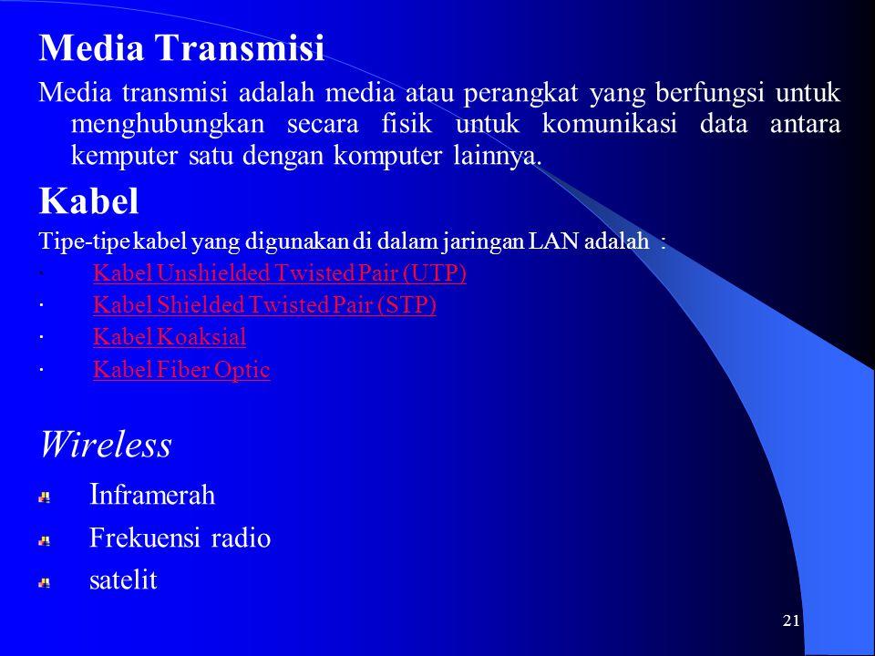 21 Media Transmisi Media transmisi adalah media atau perangkat yang berfungsi untuk menghubungkan secara fisik untuk komunikasi data antara kemputer satu dengan komputer lainnya.
