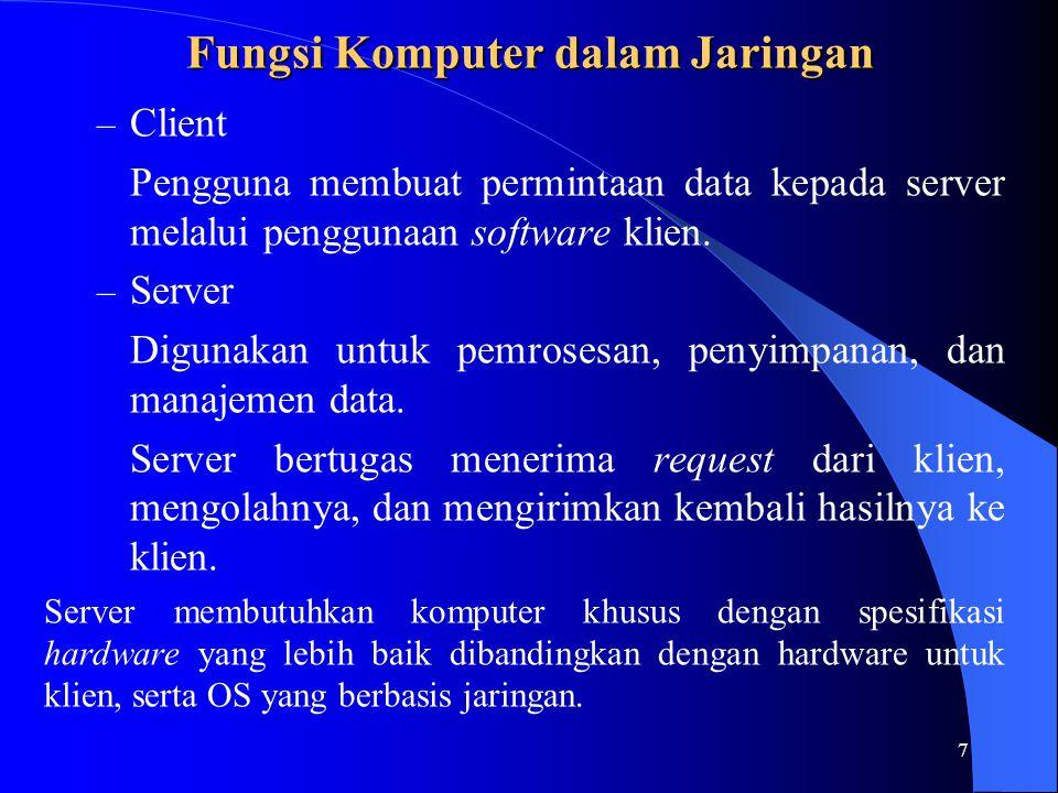 7 Fungsi Komputer dalam Jaringan – Client Pengguna membuat permintaan data kepada server melalui penggunaan software klien.
