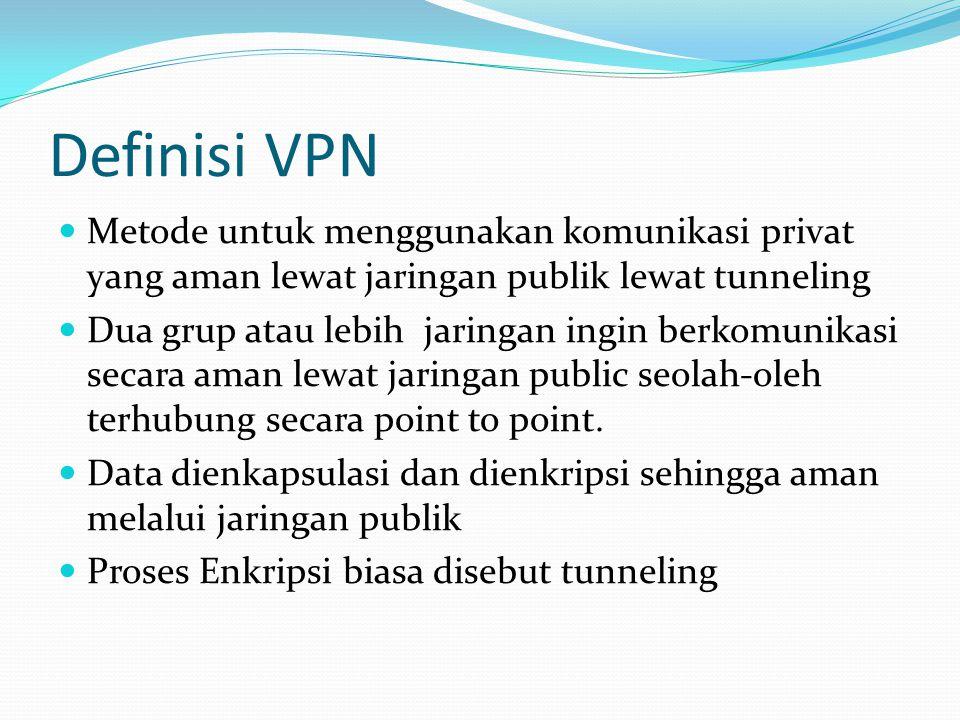 Definisi VPN Metode untuk menggunakan komunikasi privat yang aman lewat jaringan publik lewat tunneling Dua grup atau lebih jaringan ingin berkomunikasi secara aman lewat jaringan public seolah-oleh terhubung secara point to point.