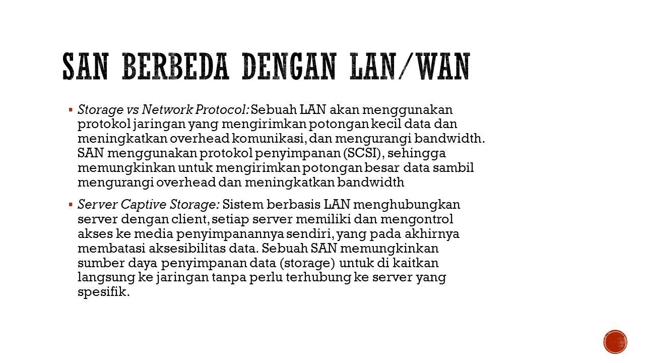  Storage vs Network Protocol: Sebuah LAN akan menggunakan protokol jaringan yang mengirimkan potongan kecil data dan meningkatkan overhead komunikasi