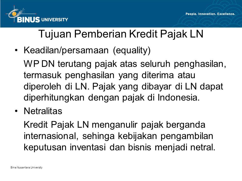 Persyaratan Pemberian Kredit Pajak LN 1.Ketentuan kredit pajak luar negeri hanya berlaku untuk Wajib Pajak Dalam Negeri, yaitu: –Orang Pribadi yang bertempat tinggal di Indonesia, berada di Indonesia lebih dari 183 hari dalam jangka waktu 12 bulan.