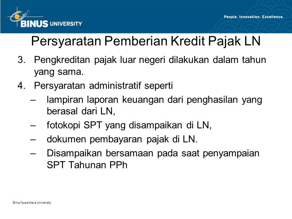 Karakteristik Kredit Pajak LN 1.Indonesia hanya menyediakan kredit langsung (direct foreign tax credit) Pajak atas penghasilan yang dibayar atau terutang di LN yang dapat dikreditkan terhadap pajak yang terutang di Indonesia hanyalah pajak yang langsung dikenakan atas penghasilan yang diterima atau diperoleh WP.