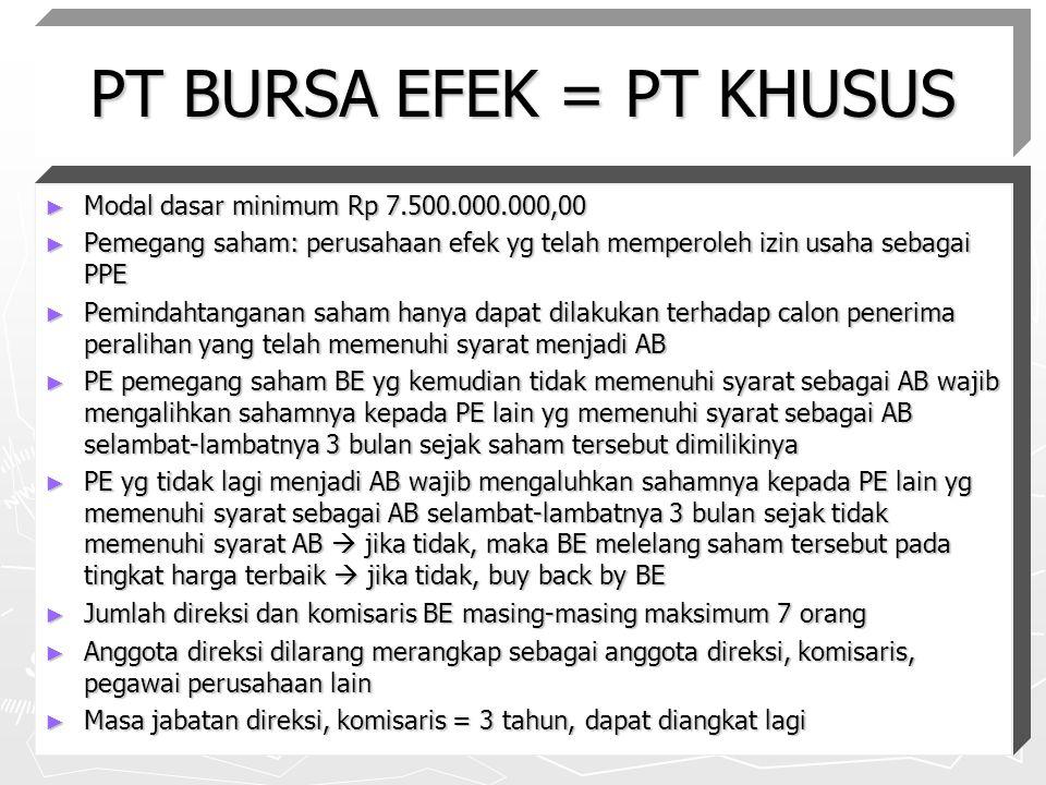 PT BURSA EFEK = PT KHUSUS ► Modal dasar minimum Rp 7.500.000.000,00 ► Pemegang saham: perusahaan efek yg telah memperoleh izin usaha sebagai PPE ► Pem