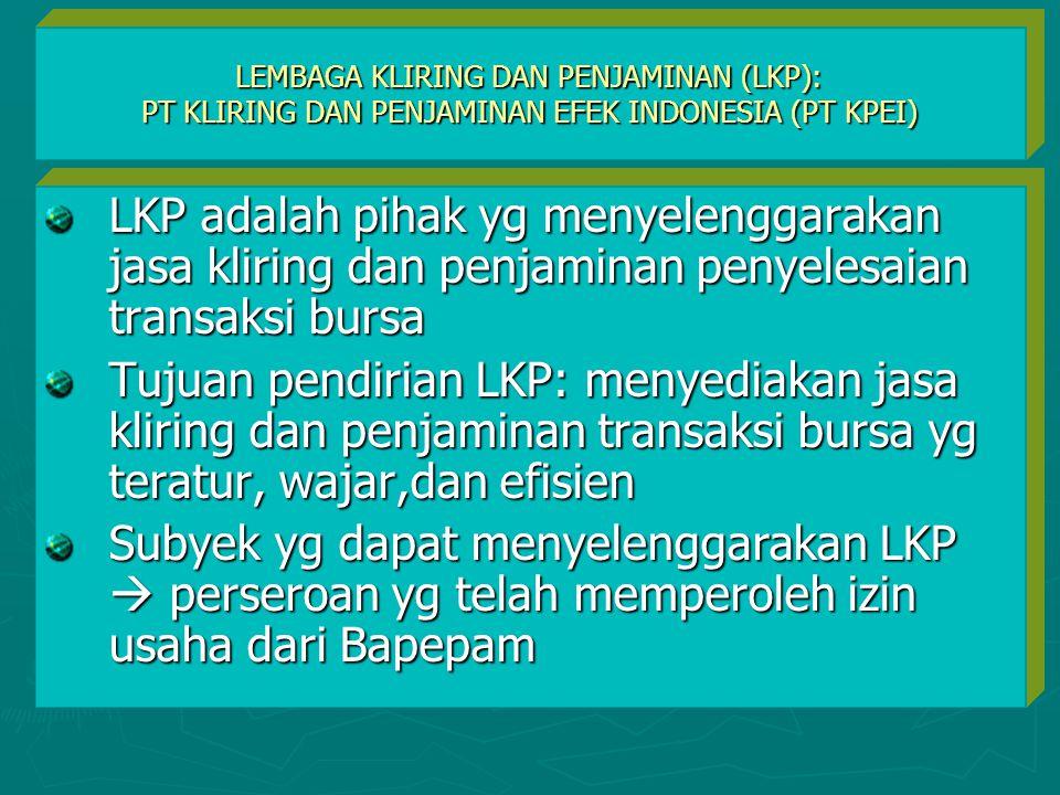 LEMBAGA KLIRING DAN PENJAMINAN (LKP): PT KLIRING DAN PENJAMINAN EFEK INDONESIA (PT KPEI) LKP adalah pihak yg menyelenggarakan jasa kliring dan penjami