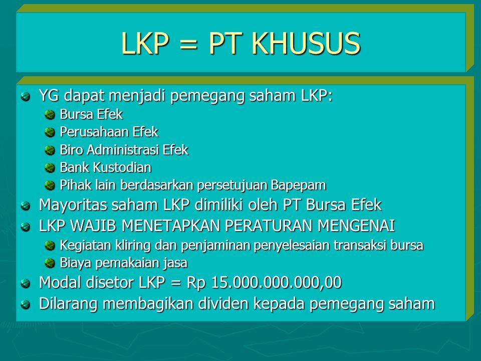 LKP = PT KHUSUS YG dapat menjadi pemegang saham LKP: Bursa Efek Perusahaan Efek Biro Administrasi Efek Bank Kustodian Pihak lain berdasarkan persetuju