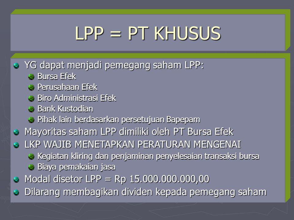 LPP = PT KHUSUS YG dapat menjadi pemegang saham LPP: Bursa Efek Perusahaan Efek Biro Administrasi Efek Bank Kustodian Pihak lain berdasarkan persetuju