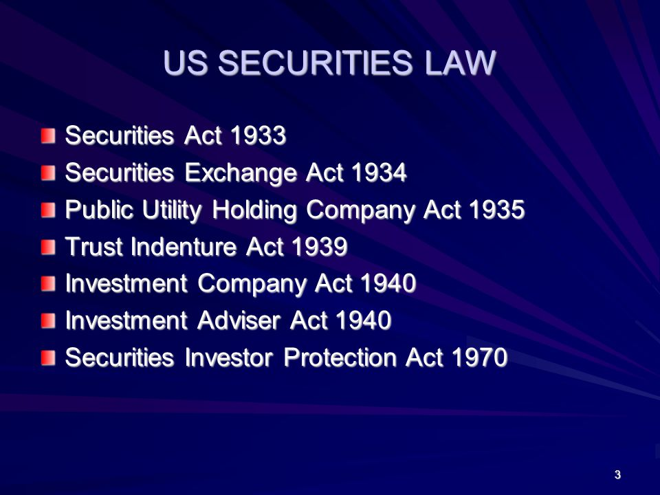 US SECURITIES LAW Securities Act 1933 Securities Exchange Act 1934 Public Utility Holding Company Act 1935 Trust Indenture Act 1939 Investment Company Act 1940 Investment Adviser Act 1940 Securities Investor Protection Act 1970 3