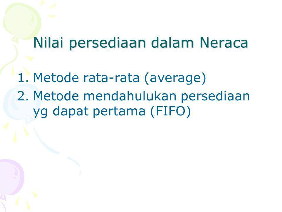 Nilai persediaan dalam Neraca 1.Metode rata-rata (average) 2.Metode mendahulukan persediaan yg dapat pertama (FIFO)