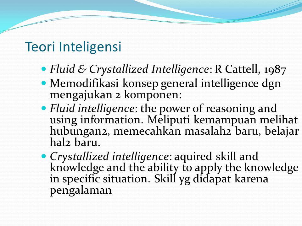 Kreativitas dan Inteligensi Kraetivitas: kemampuan untuk menghasilkan ide yang baru dan bernilai tinggi Hasil kreativitas berhubungan dg culture Korelasi kreatvitas dan score inteligensi tdk jelas.