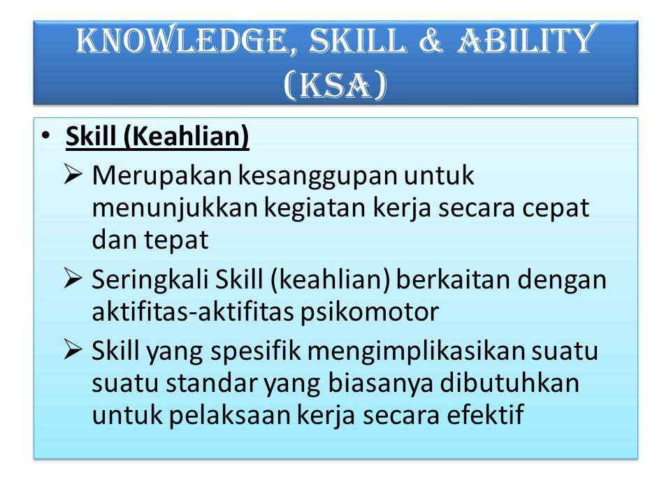 KNOWLEDGE, SKILL & ABILITY (KSA) Skill (Keahlian)  Merupakan kesanggupan untuk menunjukkan kegiatan kerja secara cepat dan tepat  Seringkali Skill (