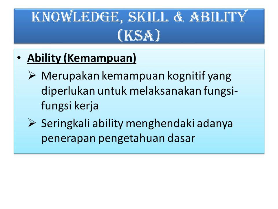 KNOWLEDGE, SKILL & ABILITY (KSA) Ability (Kemampuan)  Merupakan kemampuan kognitif yang diperlukan untuk melaksanakan fungsi- fungsi kerja  Seringkali ability menghendaki adanya penerapan pengetahuan dasar Ability (Kemampuan)  Merupakan kemampuan kognitif yang diperlukan untuk melaksanakan fungsi- fungsi kerja  Seringkali ability menghendaki adanya penerapan pengetahuan dasar