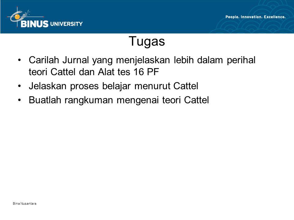 Tugas Carilah Jurnal yang menjelaskan lebih dalam perihal teori Cattel dan Alat tes 16 PF Jelaskan proses belajar menurut Cattel Buatlah rangkuman mengenai teori Cattel Bina Nusantara