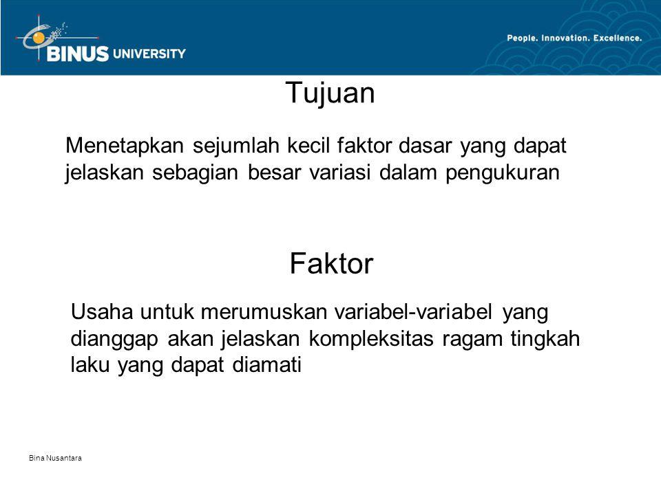 Bina Nusantara Tujuan Menetapkan sejumlah kecil faktor dasar yang dapat jelaskan sebagian besar variasi dalam pengukuran Faktor Usaha untuk merumuskan variabel-variabel yang dianggap akan jelaskan kompleksitas ragam tingkah laku yang dapat diamati