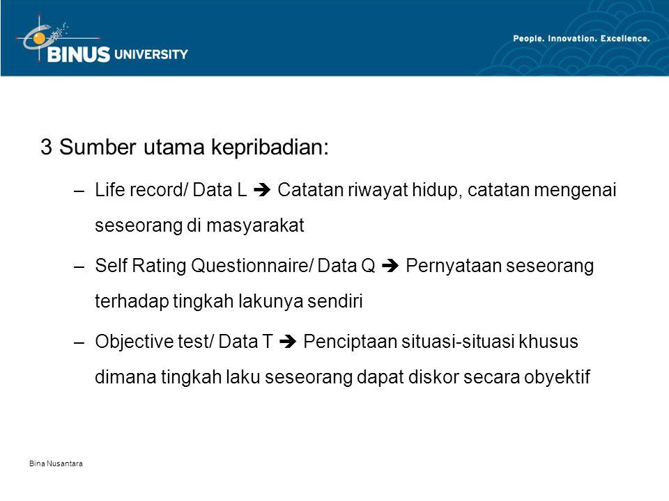 Bina Nusantara Dari L & Q data 35 personality factors –16 Personality Factor Questionnaire (temperament traits) –Factor B : Intelligence  Ability Factors –Factor Q1-Q4  Dynamic Qualities Temperament & Ability Traits