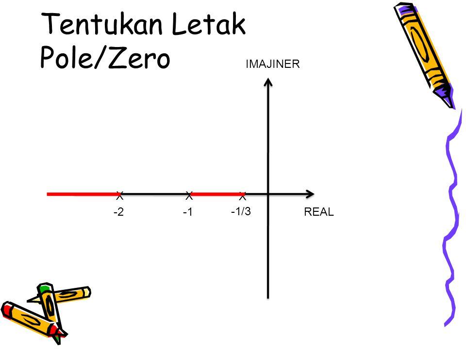 Tentukan Letak Pole/Zero REAL IMAJINER X X -1/3 X -2