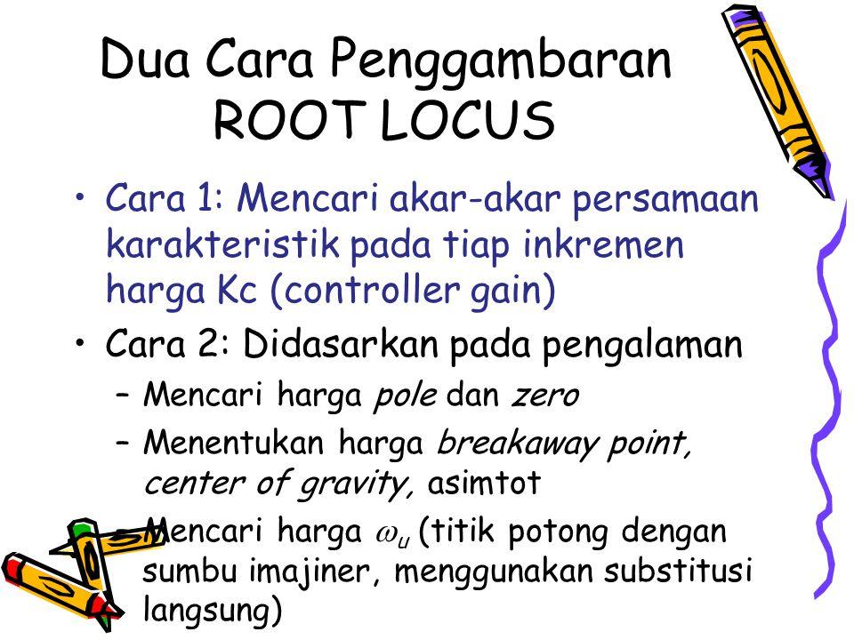 Dua Cara Penggambaran ROOT LOCUS Cara 1: Mencari akar-akar persamaan karakteristik pada tiap inkremen harga Kc (controller gain) Cara 2: Didasarkan pa