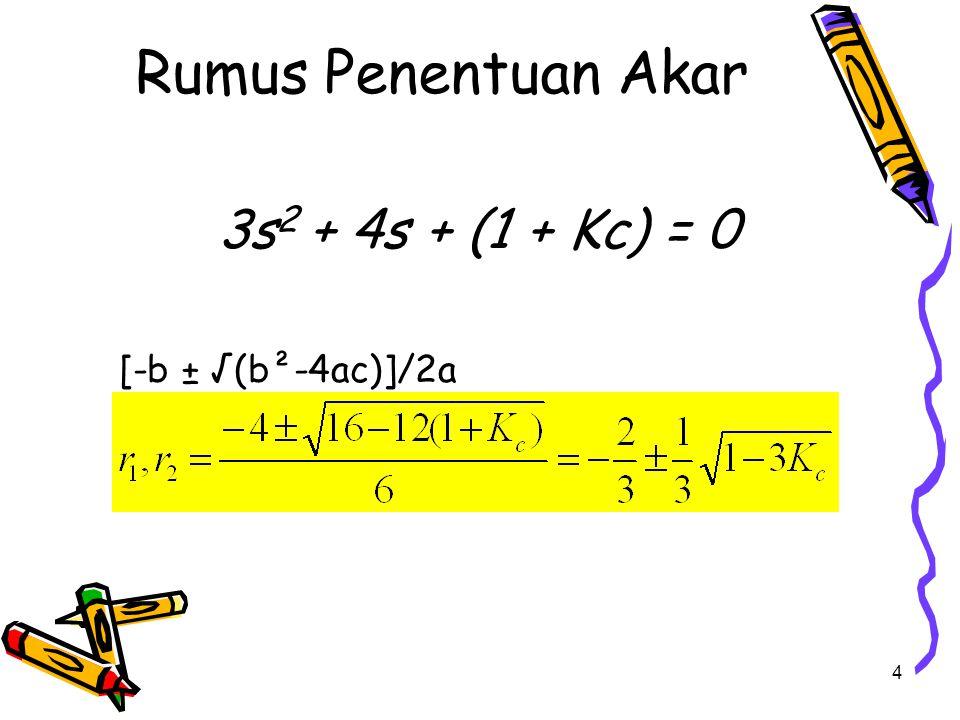 Gambar Root Locus REAL IMAJINER X X -1/3 -2/3 KcAKAR 0-1; -1/3 1-2/3 ± (  2)/3 5-2/3 ± (  14)/3 10-2/3 ± (  29)/3 20-2/3 ± (  59)/3 50-2/3 ± (  149)/3 --  Sistem SELALU STABIL karena akar-akarnya selalu berada di sebelah KIRI