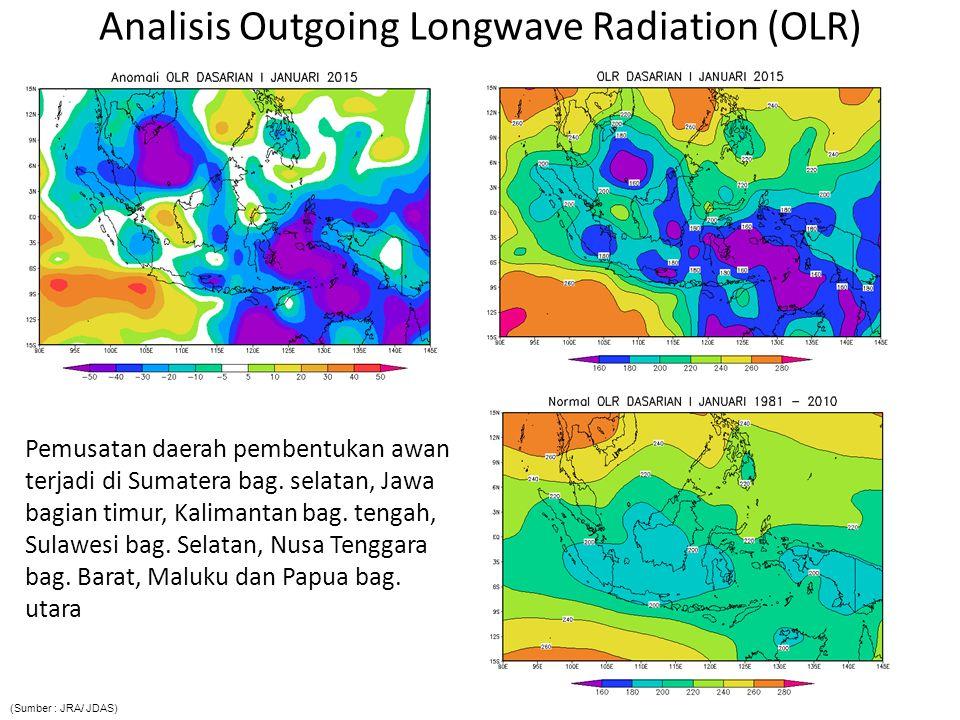 Analisis Anomali Suhu Muka Laut Indeks DM : -0.12/Normal; Anomali SST Indonesia : -0.5 s.d + 1.0 o C/ Hangat; Indeks Nino3.4 : 0.647 o C /Positif  Penguapan di wilayah Indonesia relatif lebih tinggi dibanding dengan klimatologisnya, serta terjadi penambahan pasokan uap air yang tidak signifikan dari Samudra Hindia ke wilayah Indonesia (Sumber : JRA/ JDAS)