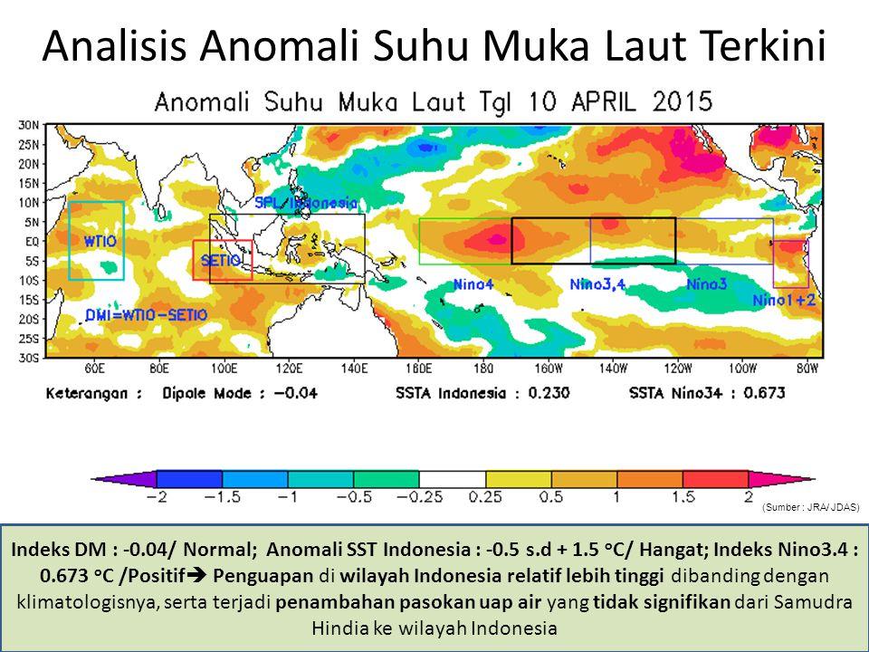 PANTAUAN NILAI SOI TERKINI HINGGA DASARIAN I April 2015 Nilai Southern Oscilation Index (SOI) rata - rata 30 hari terakhir : -8.4/Normal; tekanan udara di wilayah Pasifik (Tahiti) relatif lebih rendah dibandingkan dengan Australia (Darwin); tidak terdapat pengurangan suplai uap air yang signifikan dari Indonesia ke wilayah Samudra Pasifik