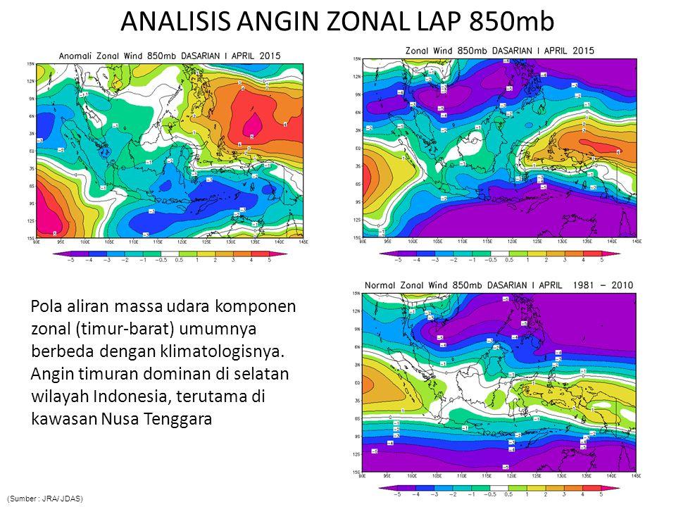ANALISIS ANGIN MERIDIONAL LAP 850mb P ola aliran massa udara komponen meridional (utara-selatan) umumnya berbeda dengan klimatologisnya.