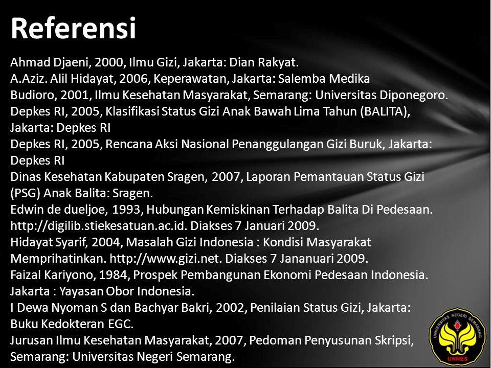 Referensi Ahmad Djaeni, 2000, Ilmu Gizi, Jakarta: Dian Rakyat. A.Aziz. Alil Hidayat, 2006, Keperawatan, Jakarta: Salemba Medika Budioro, 2001, Ilmu Ke