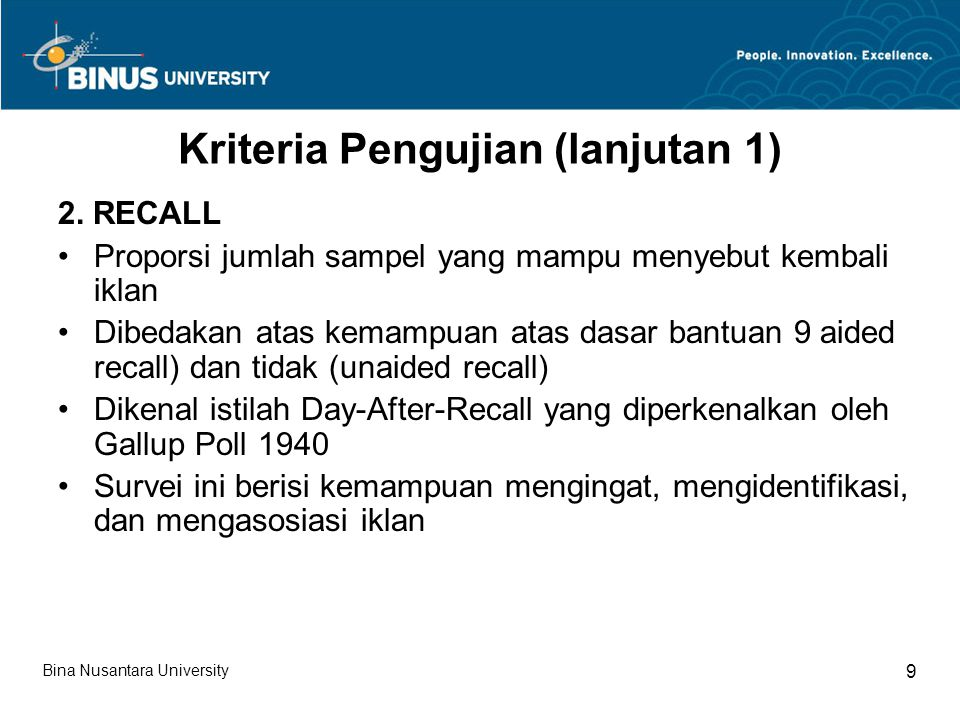 Kriteria Pengujian (lanjutan 1) 3.