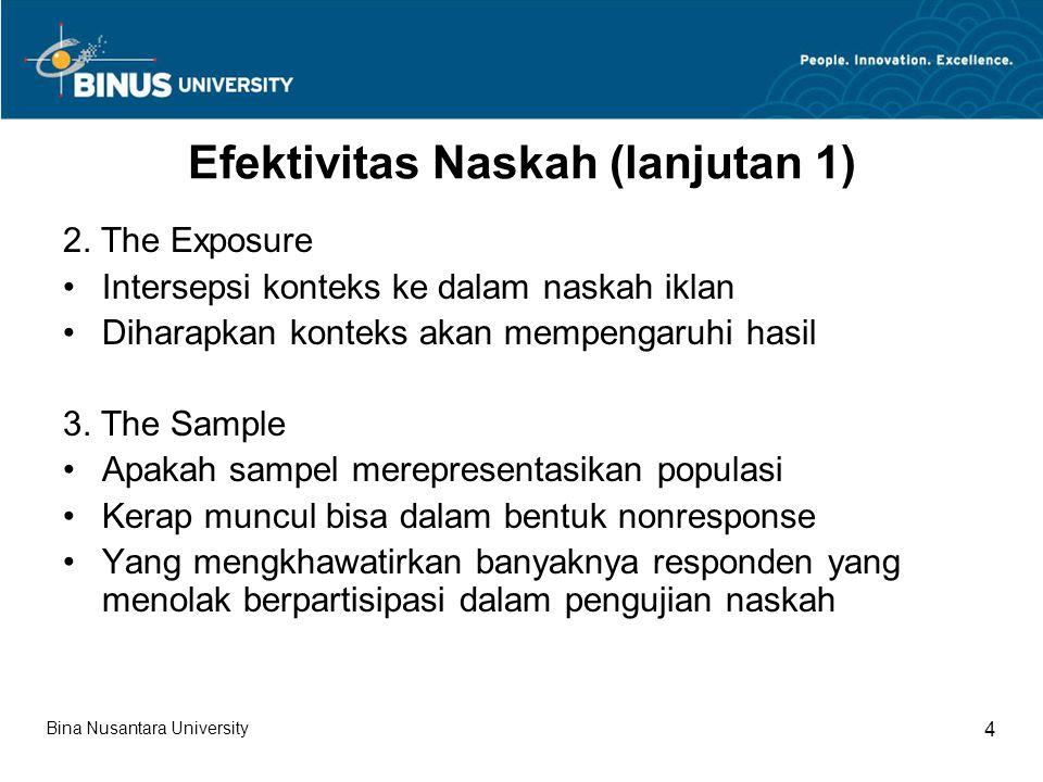 Efektivitas Naskah (lanjutan 1) 2. The Exposure Intersepsi konteks ke dalam naskah iklan Diharapkan konteks akan mempengaruhi hasil 3. The Sample Apak