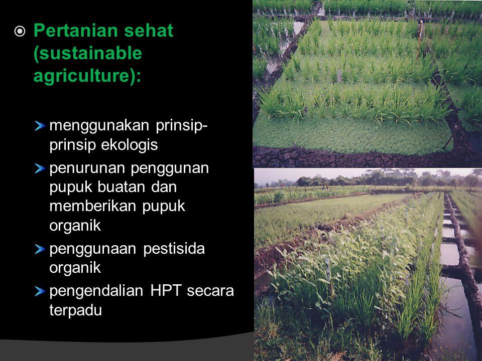  Pertanian sehat (sustainable agriculture): menggunakan prinsip- prinsip ekologis penurunan penggunan pupuk buatan dan memberikan pupuk organik penggunaan pestisida organik pengendalian HPT secara terpadu