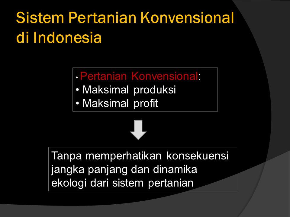 Sistem Pertanian Konvensional di Indonesia Tanpa memperhatikan konsekuensi jangka panjang dan dinamika ekologi dari sistem pertanian Pertanian Konvensional: Maksimal produksi Maksimal profit