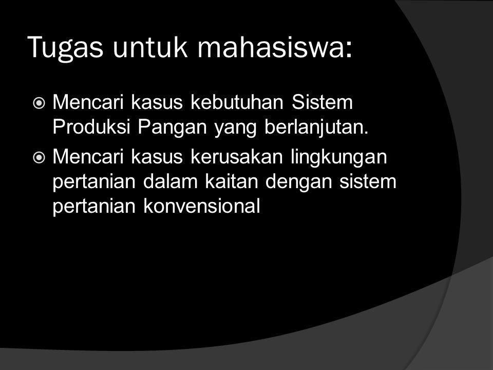 Tugas untuk mahasiswa:  Mencari kasus kebutuhan Sistem Produksi Pangan yang berlanjutan.