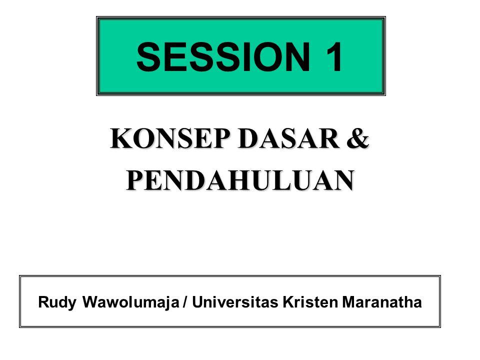 KONSEP DASAR & PENDAHULUAN SESSION 1 Rudy Wawolumaja / Universitas Kristen Maranatha