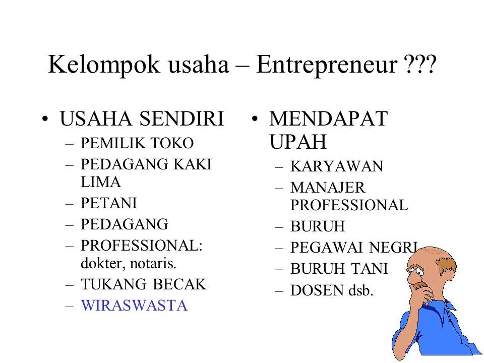 Kelompok usaha – Entrepreneur ??? USAHA SENDIRI –PEMILIK TOKO –PEDAGANG KAKI LIMA –PETANI –PEDAGANG –PROFESSIONAL: dokter, notaris. –TUKANG BECAK –WIR