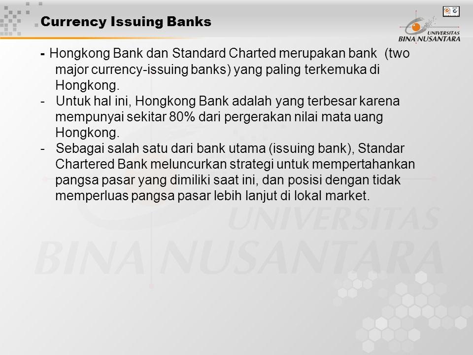 Currency Issuing Banks - Hongkong Bank dan Standard Charted merupakan bank (two major currency-issuing banks) yang paling terkemuka di Hongkong. - Unt