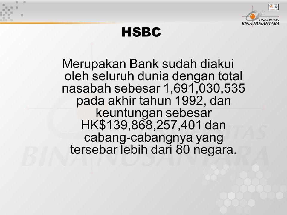 Merupakan Bank sudah diakui oleh seluruh dunia dengan total nasabah sebesar 1,691,030,535 pada akhir tahun 1992, dan keuntungan sebesar HK$139,868,257