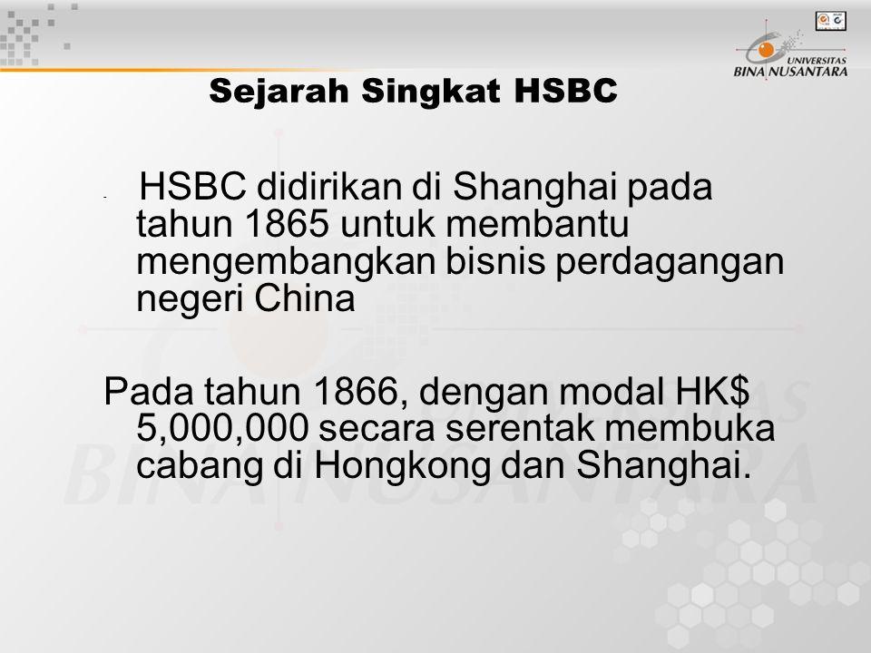 Sejarah Singkat HSBC - HSBC didirikan di Shanghai pada tahun 1865 untuk membantu mengembangkan bisnis perdagangan negeri China Pada tahun 1866, dengan