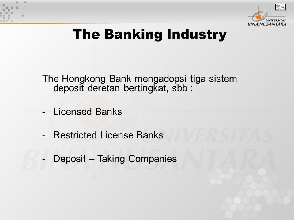 The Banking Industry The Hongkong Bank mengadopsi tiga sistem deposit deretan bertingkat, sbb : -Licensed Banks -Restricted License Banks -Deposit – T