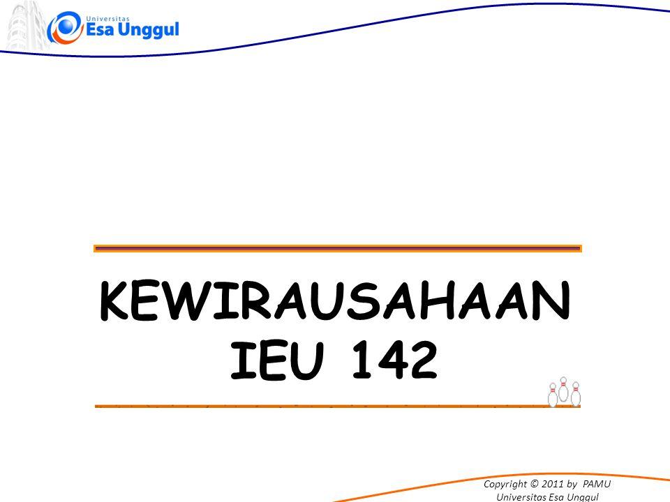 Copyright © 2011 by PAMU Universitas Esa Unggul SASARAN PERKULIAHAN Mengembangkan KARAKTER KEWIRAUSAHAAN sebagai bekal mahasiswa dalam berkarir (sebagai entrepreneur, intrapreneur maupun social entrepreneur)